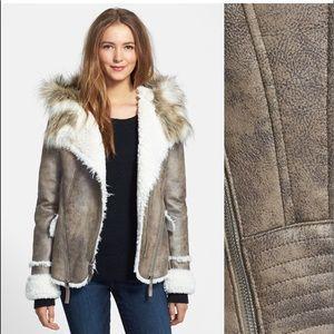 Laundry Faux Fur Faux Suede Moto Jacket